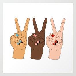 Peace Hands Cartoon Kunstdrucke