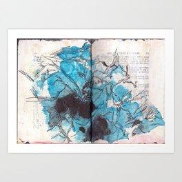 Deconstructed Flower (blue) Art Print