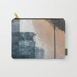 Honey 1: a pretty, minimal abstract in midnight blue, rose gold, and white Carry-All Pouch