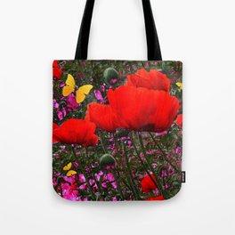 ORANGE ORIENTAL POPPIES & YELLOW BUTTERFLIES Tote Bag