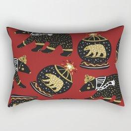 Funky Black Bear Gold White Winter Pattern Rectangular Pillow