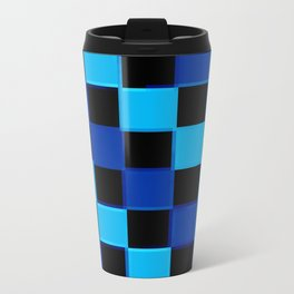 Blue & Black 3D Checkerboard Travel Mug