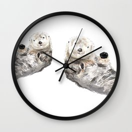 Sea Otters Watercolor Painting Wall Clock