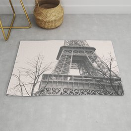 Eiffel tower, Paris, black & white photo, b&w fine art, tour, city, landscape photography, France Rug