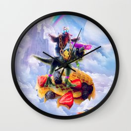 Sloth Riding Dinosaur On Clouds And Waffles Wall Clock
