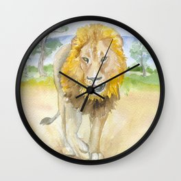 Lion in Africa Watercolor Wall Clock