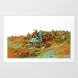 charles marion russel (custer fight)1903 Art Print