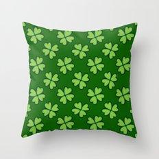 St. Patrick Day Clover 1 - Green Pattern Throw Pillow