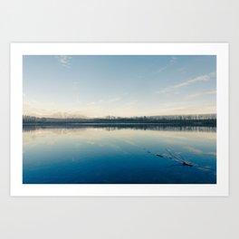 A blue  winter lake Art Print