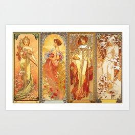 Alphonse Mucha Four Seasons Art Print