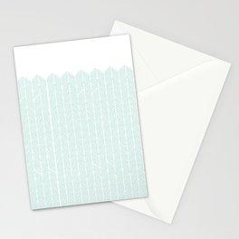 Hand drawn Herringbone in Aqua Stationery Cards