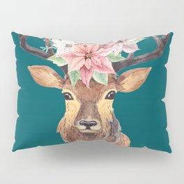 Winter Deer Teal Pillow Sham
