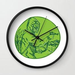 Herbicide Pesticide Control Exterminator Spraying Etching Wall Clock