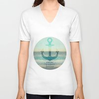 anchor V-neck T-shirts featuring ANCHOR by Monika Strigel®