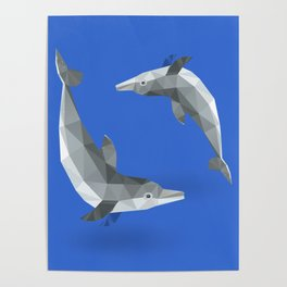 Low Polygon Dolphins Poster