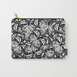 Monarch Butterflies Pattern | Butterfly Pattern | Black and White | Carry-All Pouch