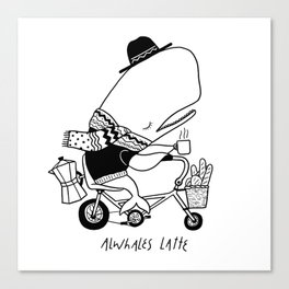 Alwhales Latte Canvas Print