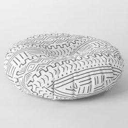 Mud Cloth on White Floor Pillow