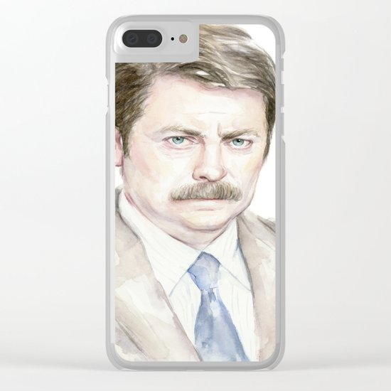 Swanson Watercolor Ron Clear iPhone Case