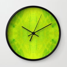 Yellow and Green Stripes Wall Clock