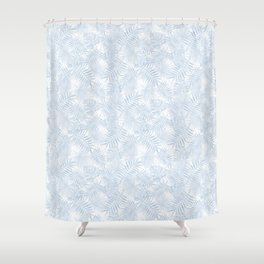 Pale Pastel Blue Monstera Leaves Shower Curtain