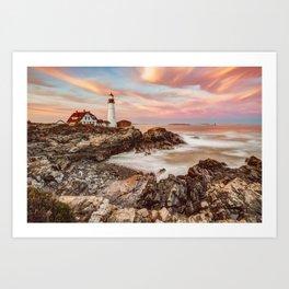 Coastal Maine Seascape and Portland Head Light Art Print