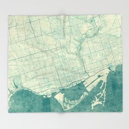 Toronto Map Blue Vintage Throw Blanket