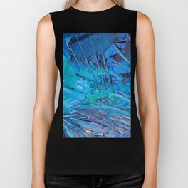 Abstract blue painting Biker Tank