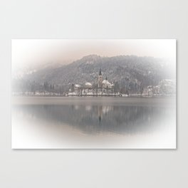 Wintry Bled Island Canvas Print