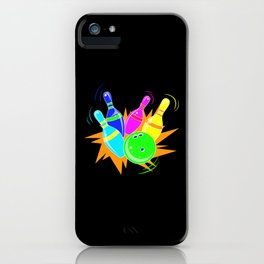 Neon Vintage Retro Strike Bowling. - Gift iPhone Case