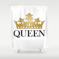 queen Shower Curtains featuring Queen by Mariah Williams