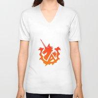 gundam V-neck T-shirts featuring Amuro Hi Nu Gundam Emblem by Nanico