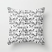 pugs Throw Pillows featuring Oh Pugs by Huebucket