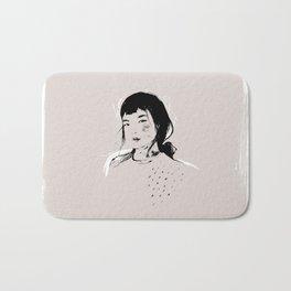 Modern Pencil Drawing Fine Art Portrait. Asian woman. Bath Mat