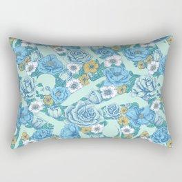 Weapon Floral-Blue Rectangular Pillow