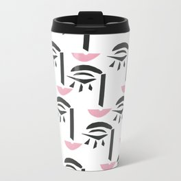 Modern Art Face Metal Travel Mug