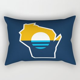 Wisconsin Outline - People's Flag of Milwaukee Rectangular Pillow