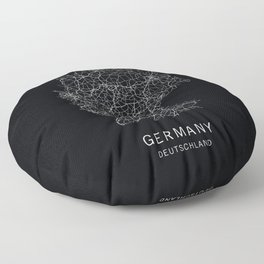 German Road Map Floor Pillow