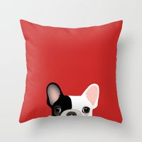 french bulldog Throw Pillows featuring French Bulldog by Anne Was Here