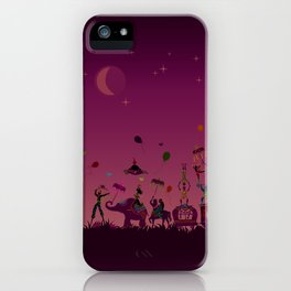 colorful circus carnival traveling in one row at night iPhone Case