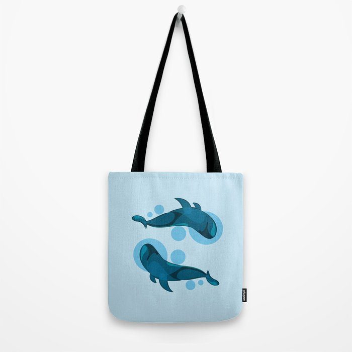Blue bubble whale Tote Bag