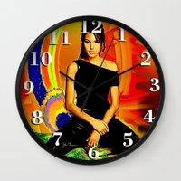 angelina jolie Wall Clocks featuring Angelina Jolie by JT Digital Art