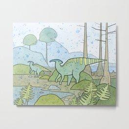 Duck-billed Dinosaur, Parasaurolophus Metal Print