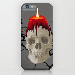 Halloween Skull with candle and trees iPhone Case