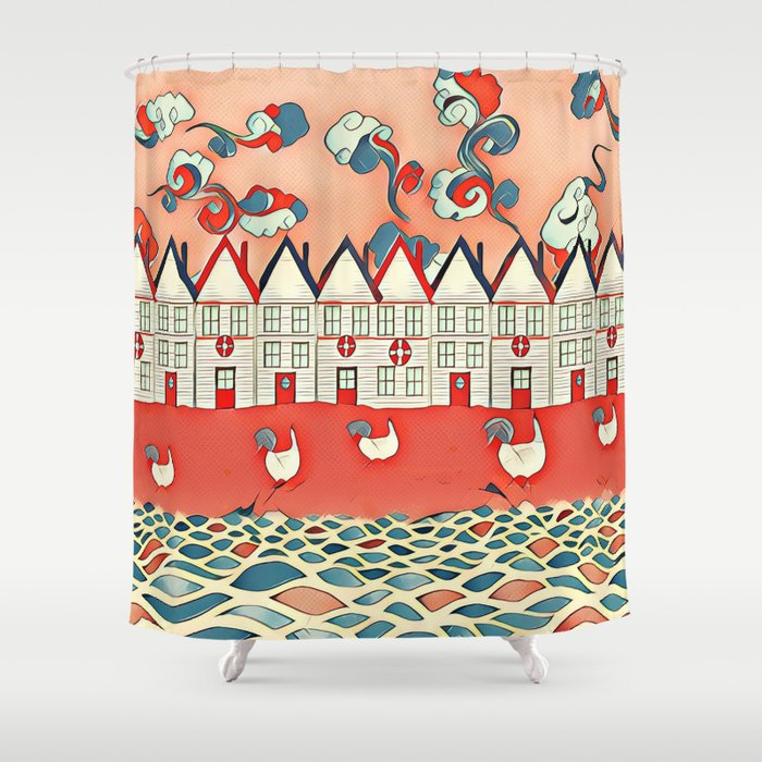 Chickens In The Seaside Shower Curtain By Jblittlemonsters