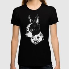 Dog - Tattooed BostonTerrier Womens Fitted Tee Black SMALL