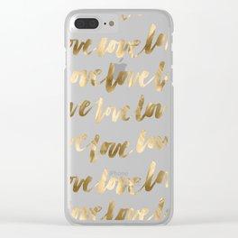 Gold Love Script Clear iPhone Case