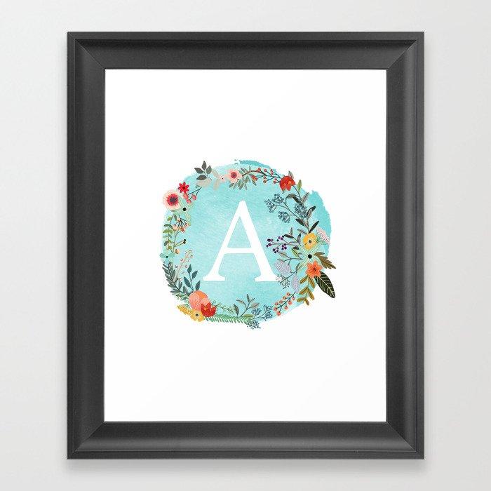 Personalized Monogram Initial Letter A Blue Watercolor Flower Wreath Artwork Gerahmter Kunstdruck