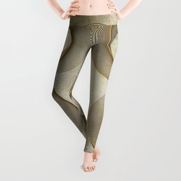 Geometrical Line Art Circle Distressed Gold Leggings