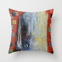moby dick Throw Pillows featuring Moby Dick by Michael Creese
